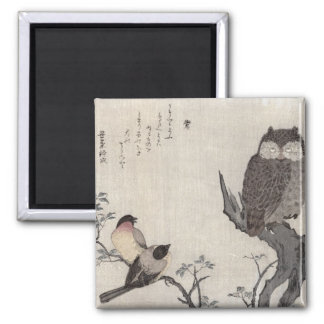 An Owl and two Eastern Bullfinches Magnet