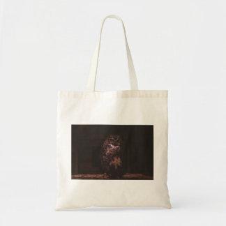 An owl on a log budget tote bag