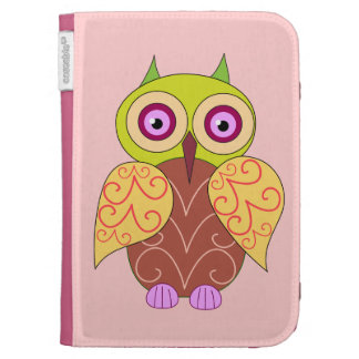 An owl on pink  kindle case