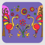 AN- Roosters and Flowers Folk Art Square Sticker