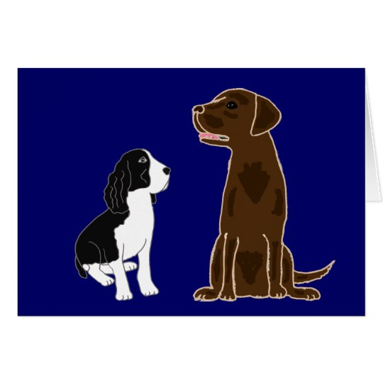 AN- Springer Spaniel and Chocolate Lab Notecards Card