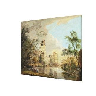 An Unfinished View of the West Gate, Canterbury, c Canvas Print