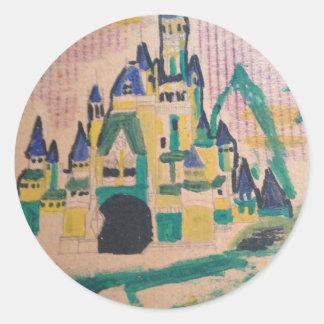 An unusual castle round sticker