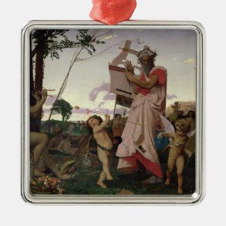 Anacreon, Bacchus and Aphrodite, 1848 Silver-Colored Square Decoration
