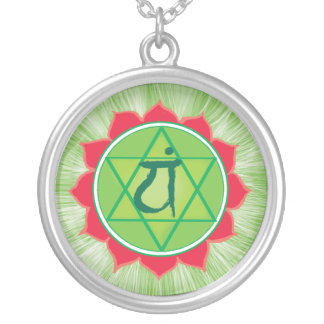 Anahata Large Silver Plated Round Necklace