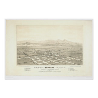 Anaheim, CA. Panoramic Map (0025A) - Restored Poster