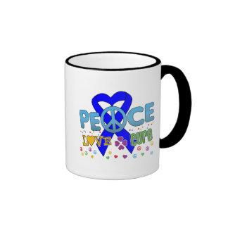 Anal Cancer Groovy Peace Love Cure Ringer Mug