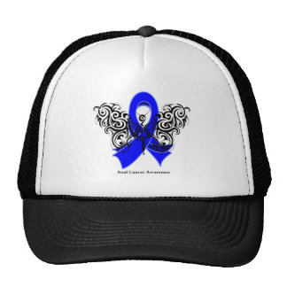 Anal Cancer Tribal Butterfly Ribbon Trucker Hat