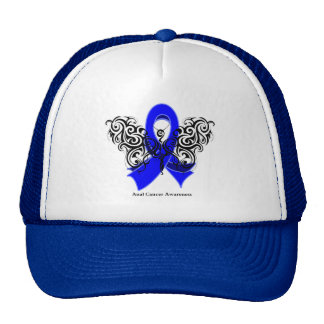 Anal Cancer Tribal Butterfly Ribbon Hats