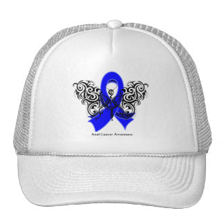 Anal Cancer Tribal Butterfly Ribbon Trucker Hats