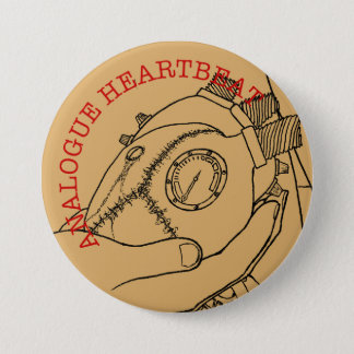 Analogue Heart Beat 7.5 Cm Round Badge