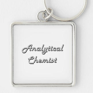 Analytical Chemist Classic Job Design Silver-Colored Square Key Ring