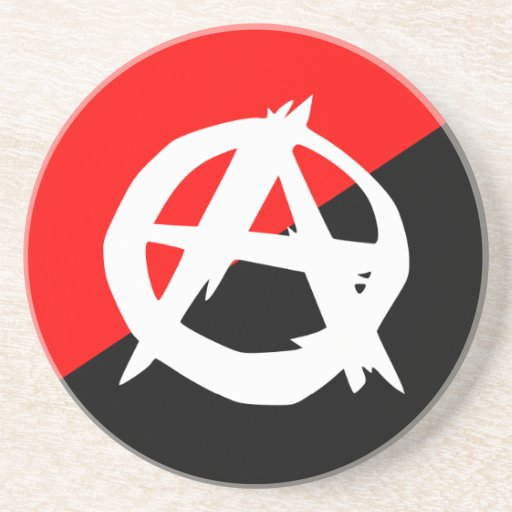 Anarchist Black White and Red Flag Beverage Coasters