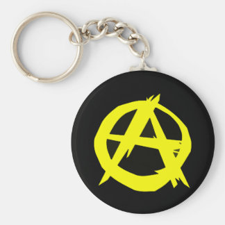 Anarcho Capitalism Black and Yellow Flag Basic Round Button Key Ring