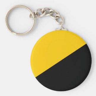 Anarcho Capitalist Black and Yellow Basic Round Button Key Ring