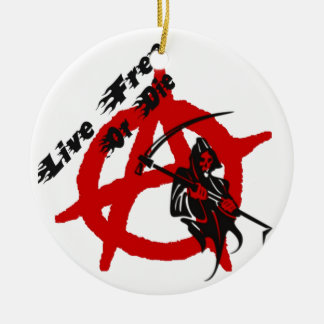 Anarchy Grim Reaper Double-Sided Ceramic Round Christmas Ornament
