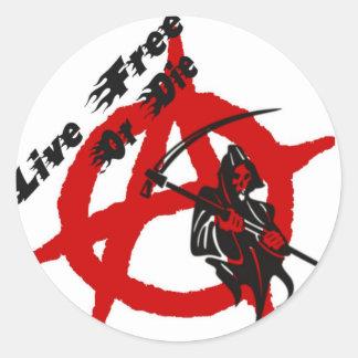 Anarchy Grim Reaper Round Sticker