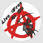 Anarchy Grim Reaper Round Stickers