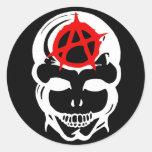 Anarchy Skull Round Sticker