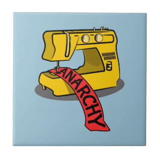 Anarchy Yellow Sewing Machine Small Square Tile