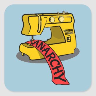 Anarchy Yellow Sewing Machine Square Sticker