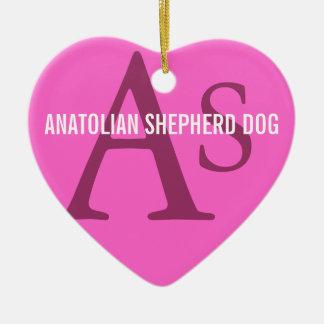 Anatolian Shepherd Dog Breed Monogram Ceramic Heart Decoration