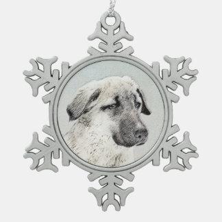 Anatolian Shepherd Painting - Original Dog Art Snowflake Pewter Christmas Ornament