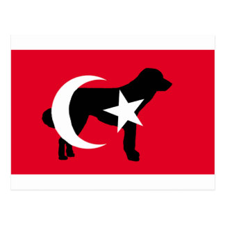 anatolian shepherd silhouette flag postcard