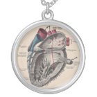 Anatomical Heart Diagram Vintage Silver Plated Necklace