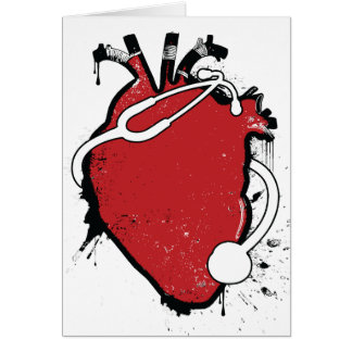anatomical heart stethoscope card