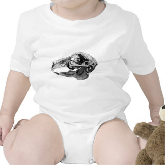 Anatomical Rabbit Skull Black and White Rompers