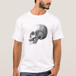 Anatomical Skull on White T-Shirt