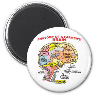 ANATOMY OF A FARMER'S BRAIN 6 CM ROUND MAGNET
