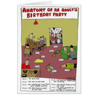 Anatomy of an Adult's Birthday Party Sam Backhouse Greeting Card