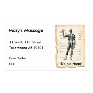 Anatomy Posterior Pack Of Standard Business Cards