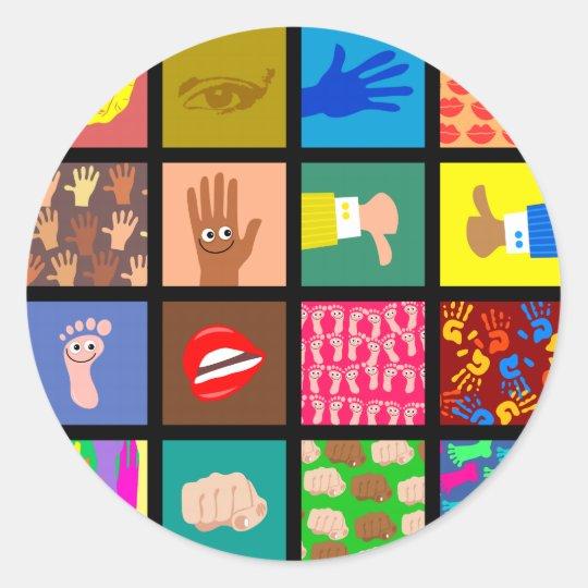 Anatomy Tile Wallpaper Round Sticker
