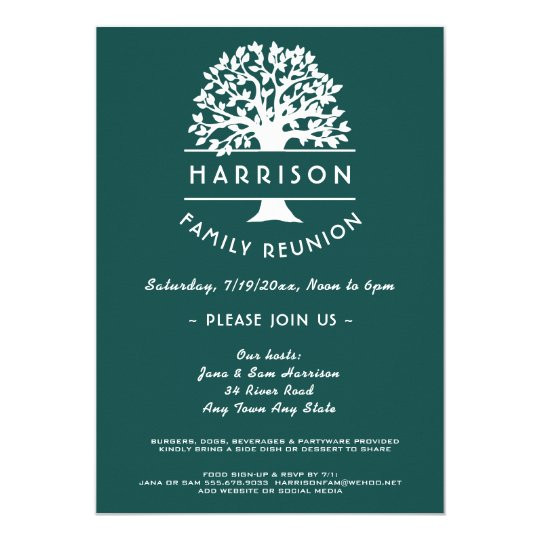 Ancestry Tree Blue Green Family Reunion Invitation