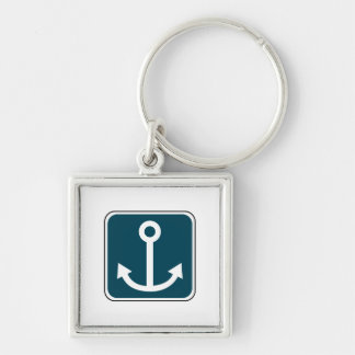 Anchor_02 Silver-Colored Square Key Ring