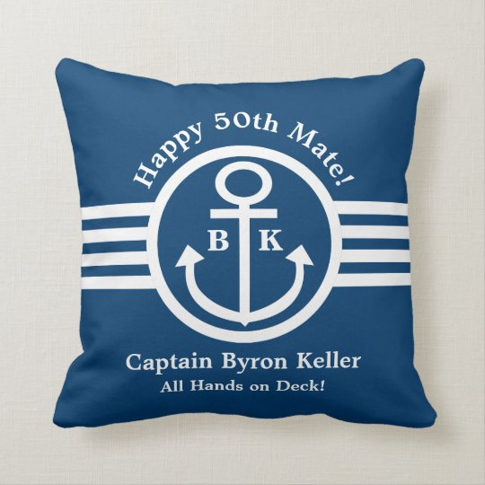 Anchor 50th Birthday Nautical Theme Cushion
