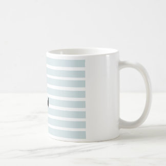 Anchor and Beach Hut Blue Stripes Basic White Mug