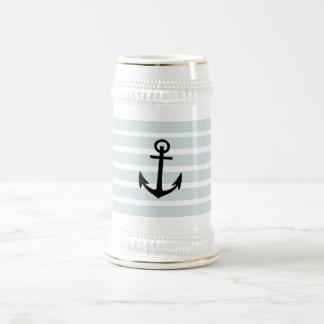 Anchor and Beach Hut Blue Stripes Beer Steins
