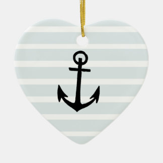 Anchor and Beach Hut Blue Stripes Ceramic Heart Decoration