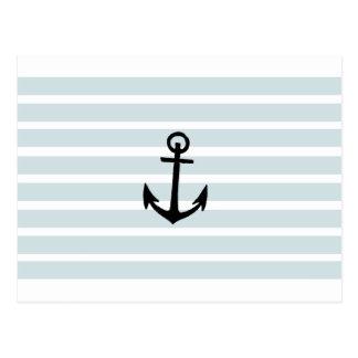 Anchor and Beach Hut Blue Stripes Postcard
