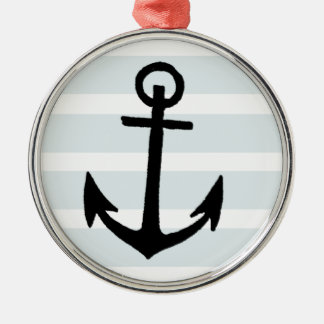 Anchor and Beach Hut Blue Stripes Silver-Colored Round Decoration