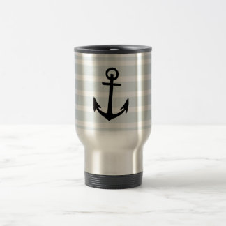 Anchor and Beach Hut Blue Stripes Stainless Steel Travel Mug