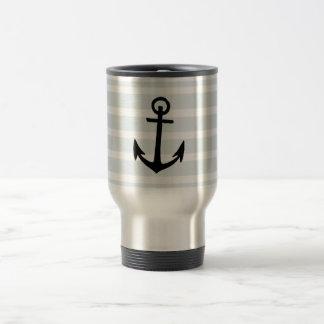 Anchor and Beach Hut Blue Stripes Travel Mug