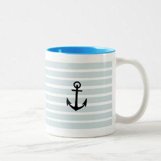 Anchor and Beach Hut Blue Stripes Two-Tone Coffee Mug
