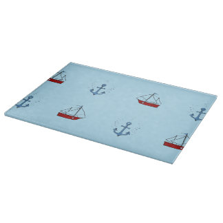 Anchor and Boat Glass Chopping Board