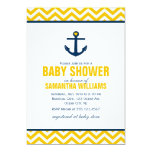 "Anchor and Chevrons Nautical Baby Shower {yellow} 5"" X 7"" Invitation Card"