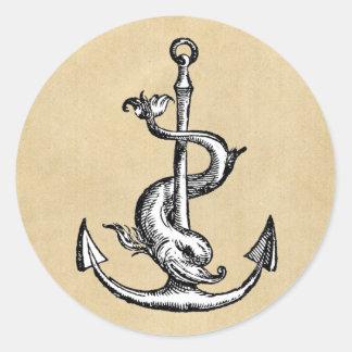 Anchor and Dolphin - Festina Lente Round Sticker